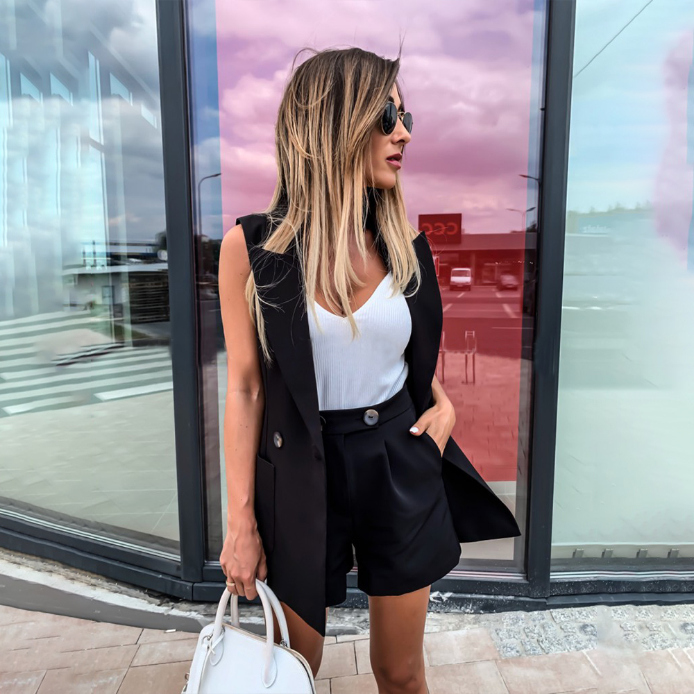 Women Two-Piece Suit Vest Coat And Shorts Suit Solid Color Waistcoat Single Button Yellow Sleeveless Blazers With Shorts D30