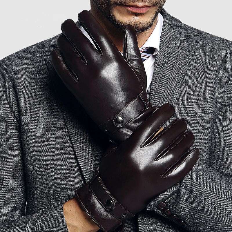 Genuien Leather Gloves Male Autumn Winter Warm Lined Sheepskin Gloves Man Fashion Black Business Casual Leather Gloves TU2001