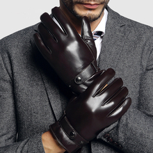 Genuien Leather Gloves Male Autumn Winter Warm Lined Sheepskin Man Fashion Black Business Casual TU2001