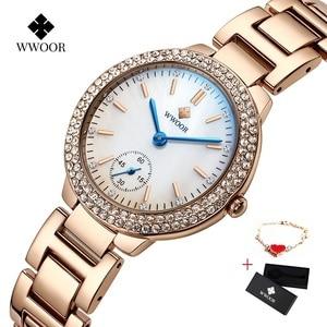 Image 1 - WWOOR damskie zegarki z diamentami luksusowa złota bransoletka damska zegarek wodoodporna stal nierdzewna Casual damski zegarek kwarcowy Reloj Mujer
