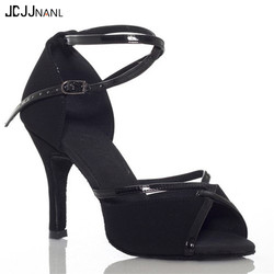 Black Satin+PU Upper Ballroom Dancing Shoes Women's Dance Shoes High Heeled Dance Shoes Women Latin Shoes with Wide Width