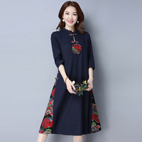 2019 New Autumn Vintage Women Long dress National Wind Cotton Chinese Cheongsam Dresses Red Green Navy 671
