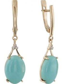 Aloris earrings with turquoise and cubic zirconia in red gold