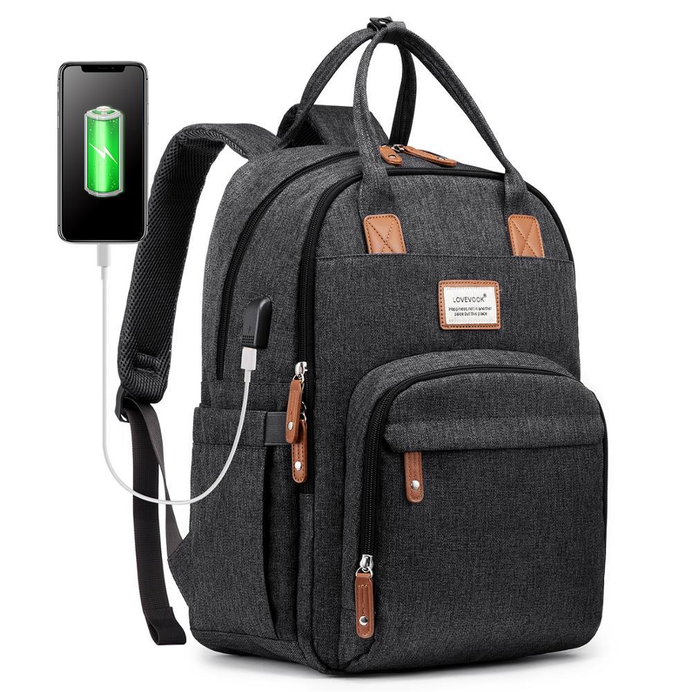 LOVEVOOK Laptop Backpacks Women Multifunctional Canvas Backpacks Unisex Waterproof Anti-thieft Backpacks For School/work/travel