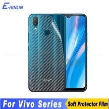 Fibra de carbono capa traseira protetor de tela para vivo y1s y11 y12 y12i y15 y17 y19 adesivo película protetora não vidro temperado