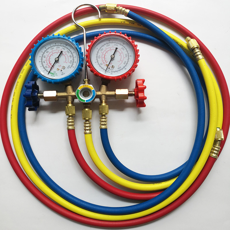 Hot Auto Manifold Gauge Set R134A Refrigerant Charging Hose with 2 Quick Coupler For R134A Air conditioning Refrigeration