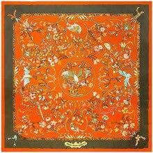 도매 순수 실크 스카프 여성 대형 Shawls Stoles 꽃 인쇄 스퀘어 스카프 Echarpes Foulards Femme Wrap Bandanas 130*130CM