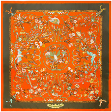Écharpe carrée avec imprimé de fleurs pour femmes, grands châles en soie Pure, 130x130CM, vente en gros
