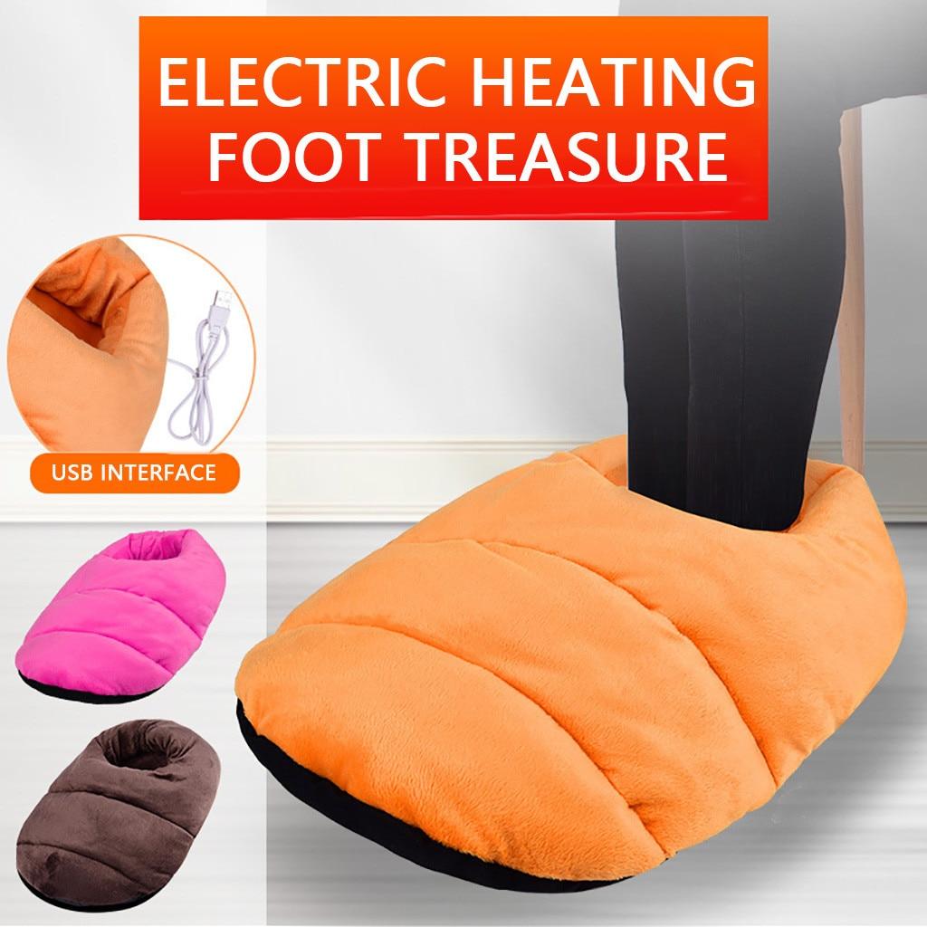 Electronic Foot Warmer Warm Feet Treasure Heating Shoes Foot Warming Artifact USB Heating Plush Bedroom Office Dormitory