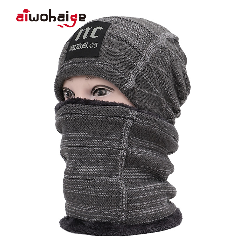 2019 Fashion Winter Warm Knit Hat Scarf 2 Pieces Set Women Men Plus Velvet Thick Beanies Scarves Skullies Soft Cap Balaclava
