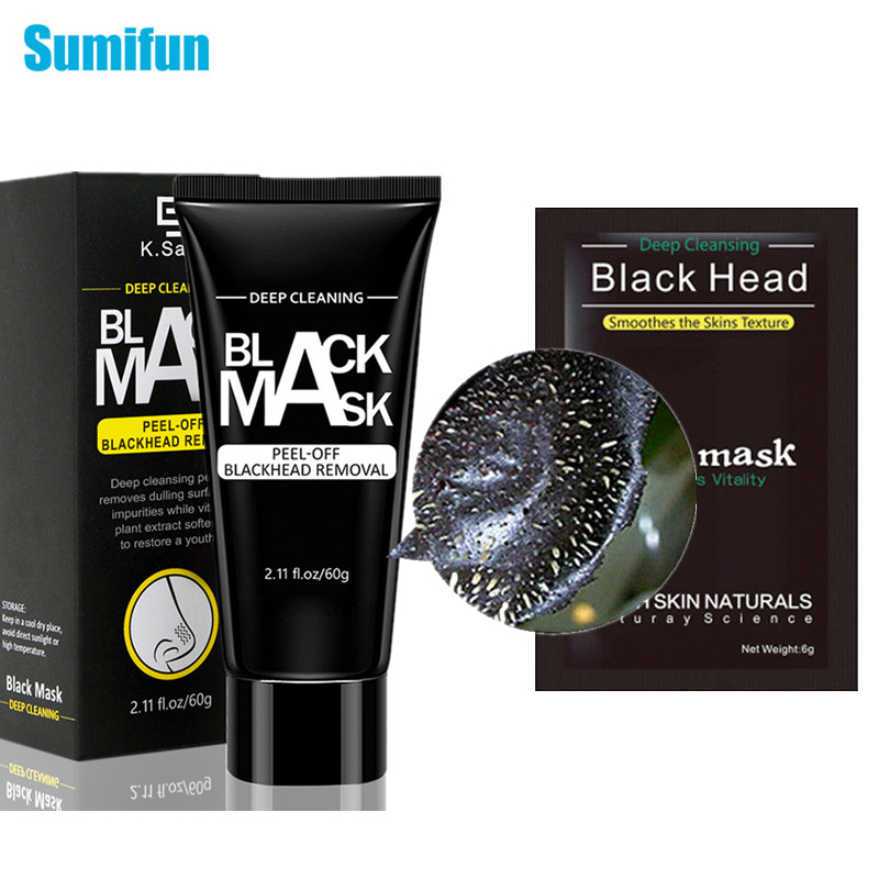 60g Blackhead Removal Ointment& 5pcs Nose Blackhead Remover Face Pack Peel Off Blackhead Acne Treatment Charcoal Deep Clean Mask