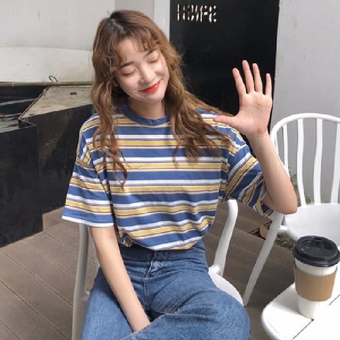 Summer Han Edition Of The Original SuFeng Stripes Easy Ins Joker Coat Short Sleeve T-shirt Female Students Render Unlined Upper