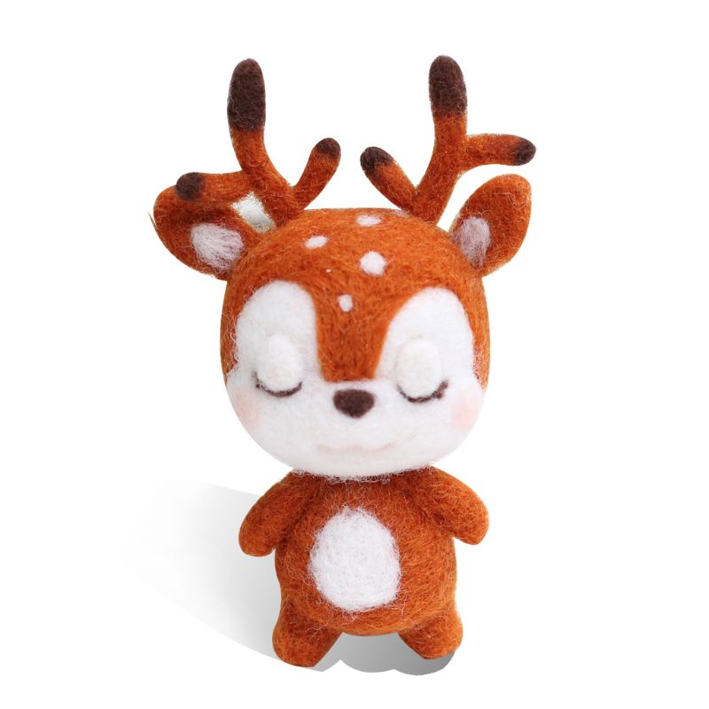 Sika Deer Animal Doll Wool Felt Craft DIY Non Finished Poked Set Handcraft Kit For Needle Material Bag Pack GXMA