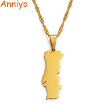 Anniyo portugal mapa pingentes & colar corrente ouro cor charme portuguesa jóias para meninas #028321