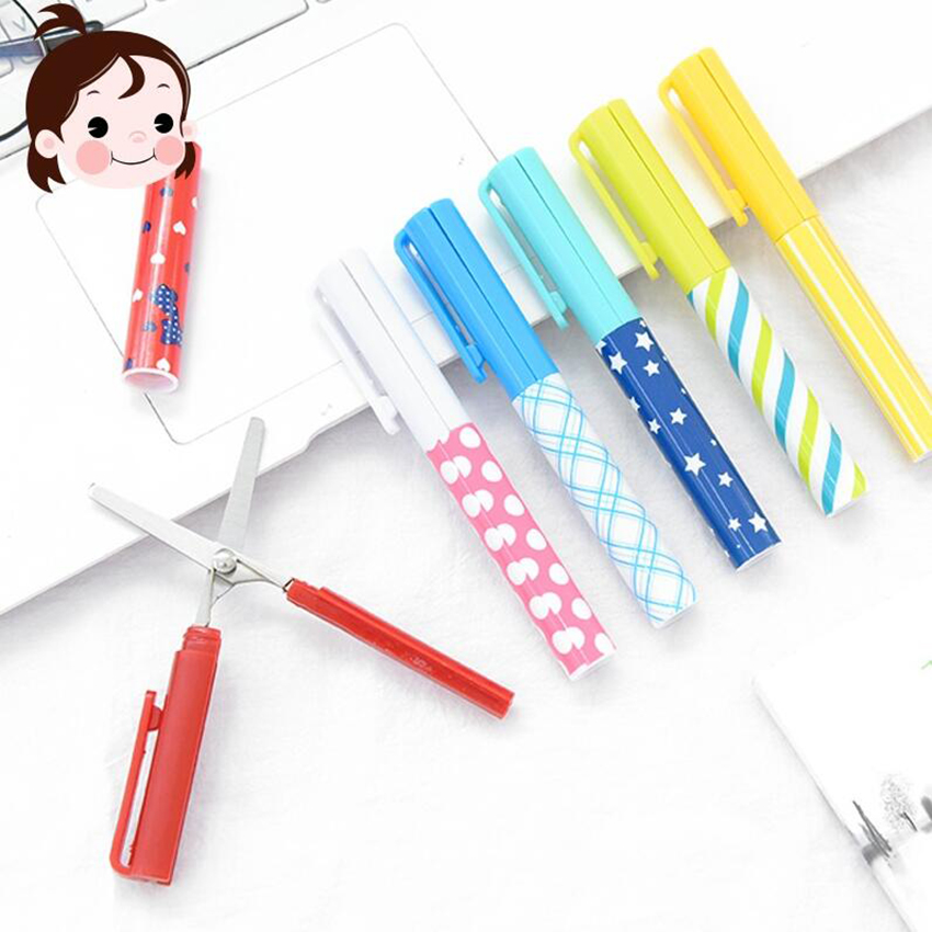 Pen Type Simple Cool Cute Cartoon Portable Scissors Stationery Scissors Novelty Household Folding Scissors 11.5*1.2cm
