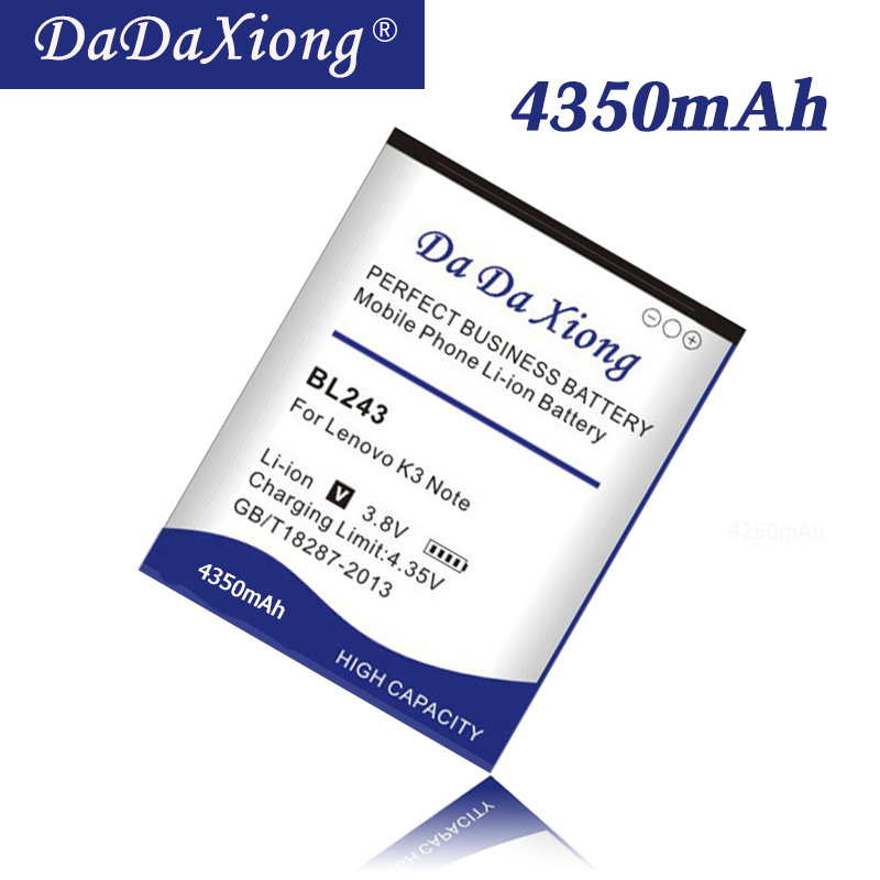 Original Da Da Xiong high capacity 4350mAh BL243 <font><b>Battery</b></font> for <font><b>Lenovo</b></font> <font><b>K3</b></font> <font><b>Note</b></font> K50-T5 A7000 A5500 A5600 A7600 Mobile phone <font><b>Battery</b></font> image