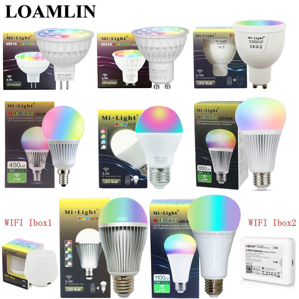 Milight Dimmable Led Bulb MR16 GU10 E14 E27 2.4G Led Lamp 4W 5W 6W 9W 12W CCT/RGBW/RGBWW/RGB+CCT