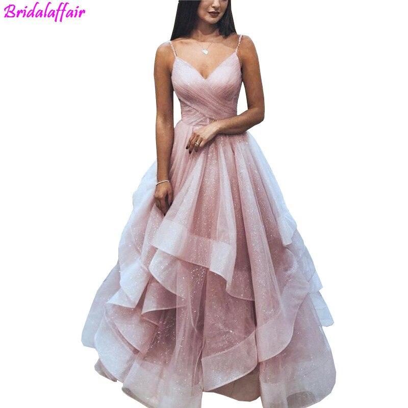 Robe de soirée en Tulle brillant Sexy dos nu rose robe de bal bretelles Spaghetti Abiti Da Cerimonia Da Sera