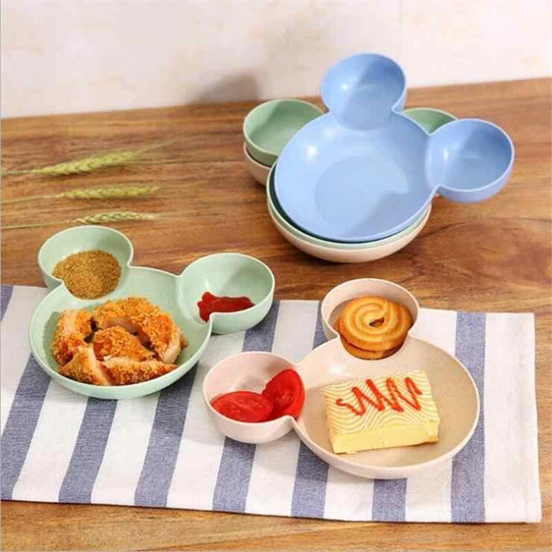 Kid Mickey Kom Gerechten Cartoon Muis Lunchbox Kind Baby Kinderen Baby Baby Rijst Voederen Kom Plastic Snack Plaat Servies