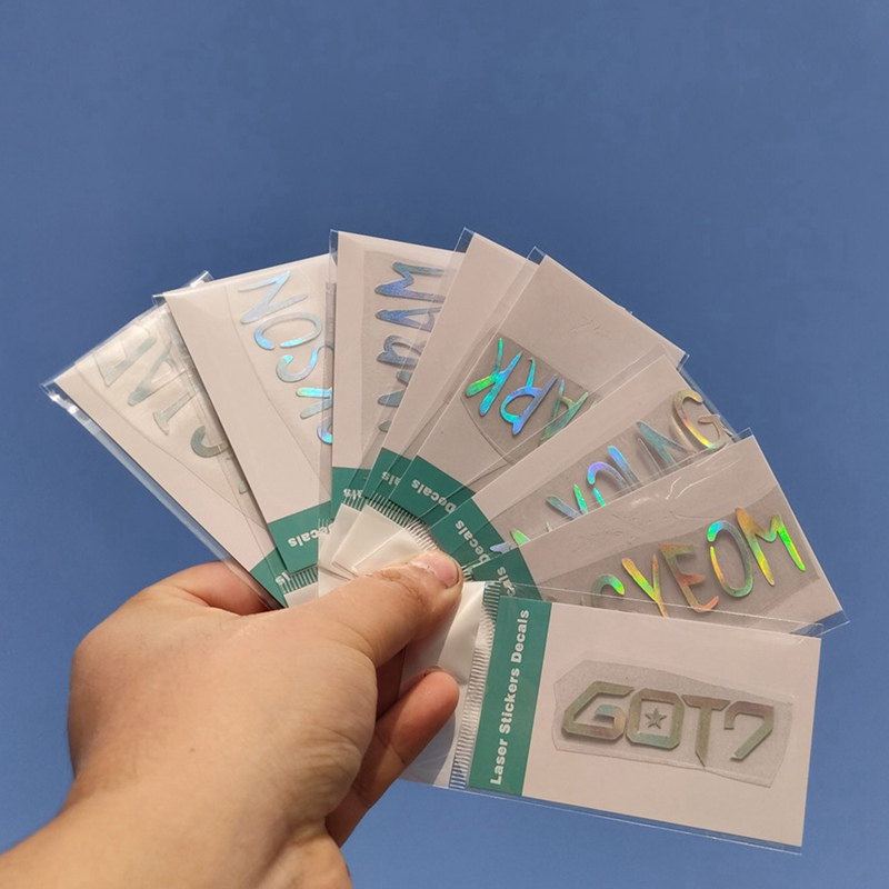 Kpop Creative Laser Sticker GOT7 YOUNGJAE JACKSON YUGYEOM JINYOUNG BAMBAM MARK JB Waterproof Stickers Colorful Color Changing