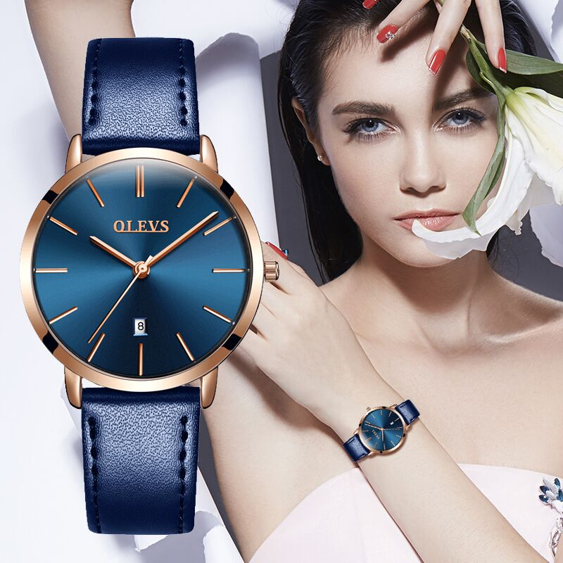 OLEVS Women Watch Red  Casual Leather Ladies Watches Luxury Quartz Female Wristwatches Brand Clock Ultra Thin Surface 6.5MM5869