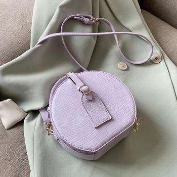 Round Mini PU Leather Crossbody Bag For Women 2020 Summer Simple Style Solid Color Shoulder Handbags Female Cross Body Bag