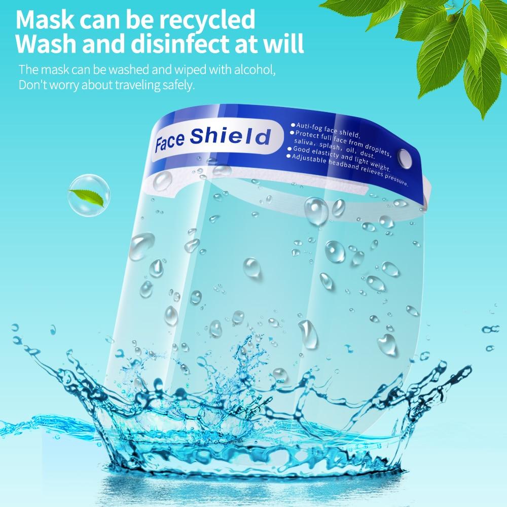 5PCS Protective Mask Transparent Full Face Shield Anti Dust Spitting Face Mask  Protective Eyes Safety Reusable Antivirus Masks