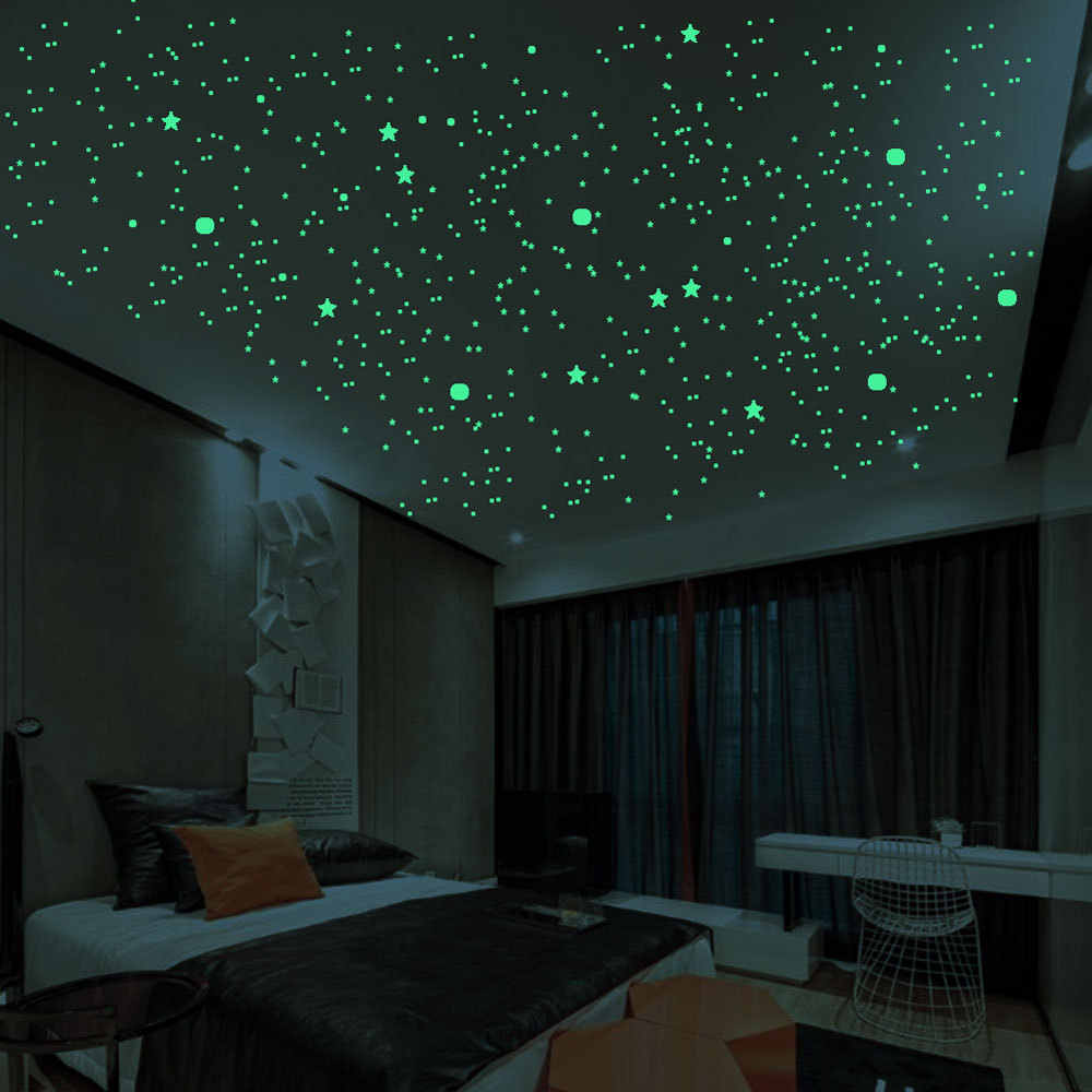 3D Bubble 202 шт./компл. звезды точки Светящиеся Настенные наклейки DIY спальня детская комната Наклейка Светящиеся в темноте флуоресцентные украшения дома