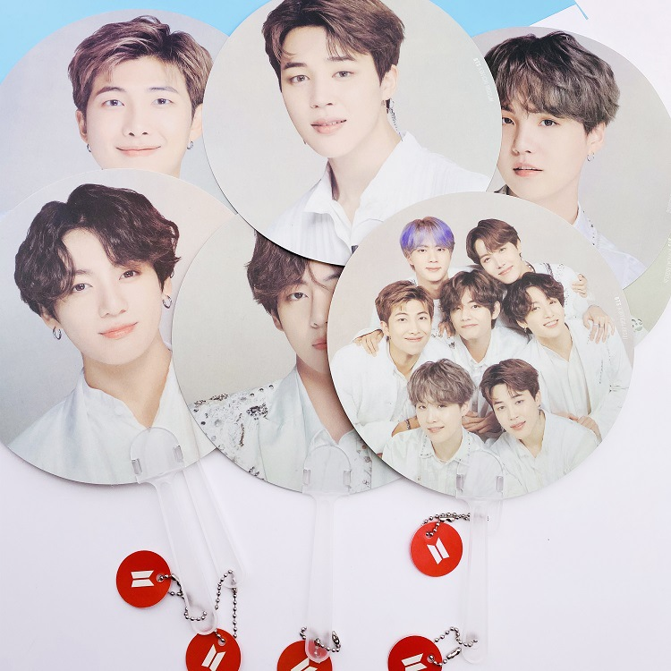 10 Pcs/lot KPOP Boys Fan RM V SUGA JIMIN J-HOPE JIN JUNGKOOK Portable Hand Fan Party Supplies Round Fan For Gift