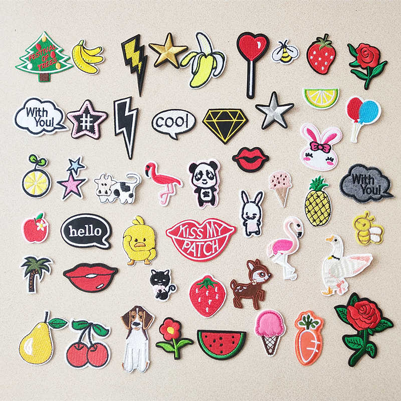 Christmas tree Star Patch Embroidery Patches For Clothing Cute Cat Animal Iron On Patches On Clothes fruit Watermelon Sticker