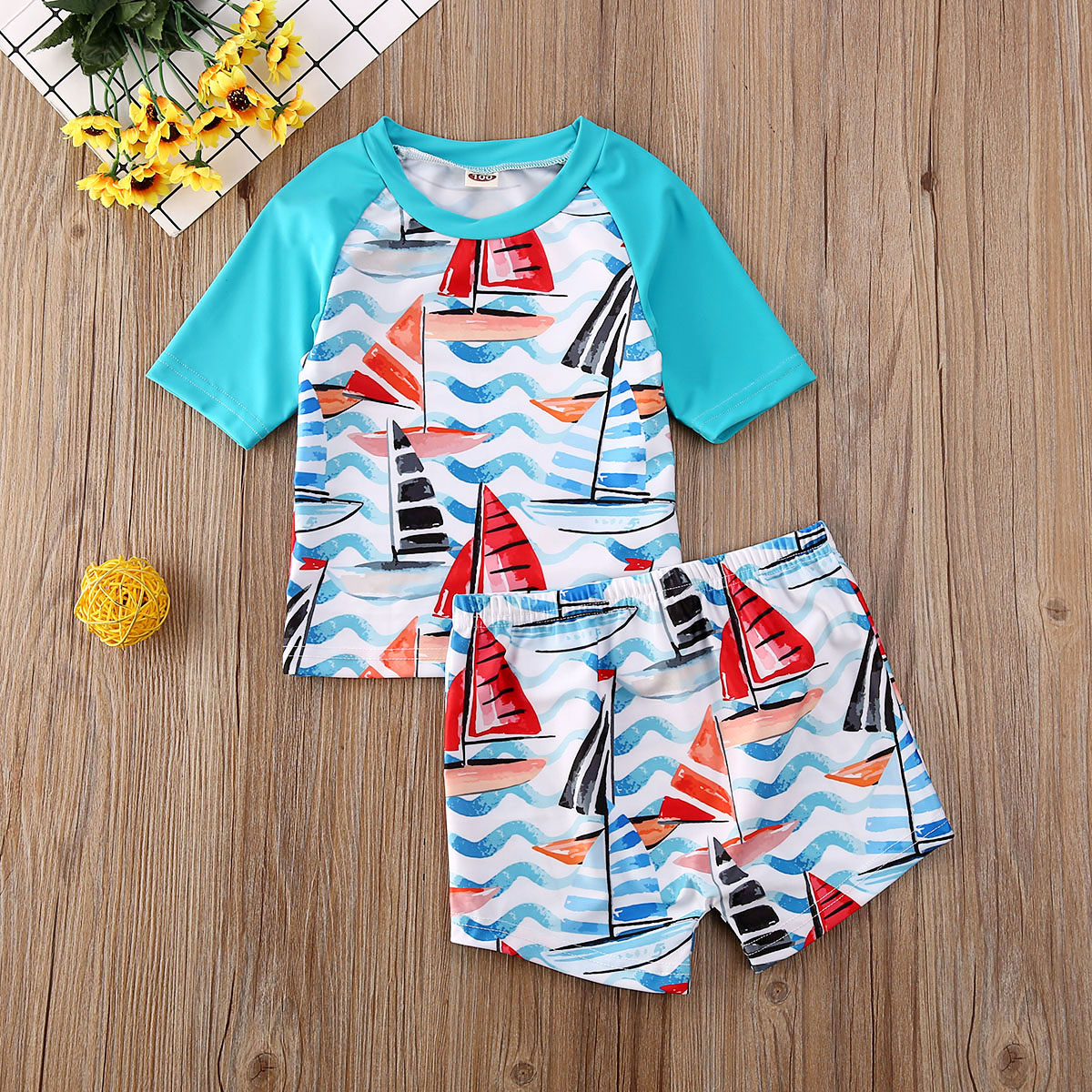 2pcs Toddler Baby Boy Kids Swimsuit Bathing Tankini Bikini Set Swimwear Beachwear Boys Swimming Suit Summer Children Swimwear