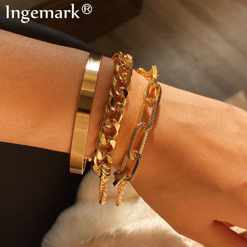 Ingemark Vintage Snake Chain Bracelets Set for Women Beach Bohemian Fashion Thick Iron Link Bracelet Bangles Punk Hand Jewelry