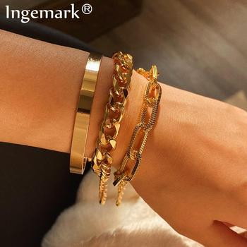 Ingemark Vintage Snake Chain Bracelets Set for Women Beach Bohemian Fashion Thick Iron Link Bracelet Bangles Punk Hand Jewelry