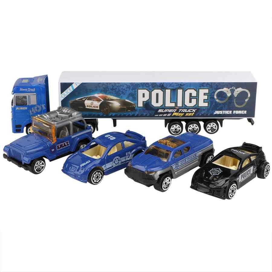 11 шт. модели машинок Игрушка имитация Полицейская машина литья под давлением автомобиль грузовик игрушка набор детский подарок игрушка