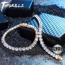 TOPGRILLZ مثلج الزركون 3 6 مللي متر تنس سلسلة الرجال الهيب هوب مجوهرات 925 فضة الذهب مشبك قفل سوار CZ ربط 7 8 بوصة