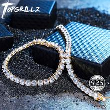 TOPGRILLZ Iced Zircon 3 6MM Tennis Chain Mens Hip hop Jewelry 925 Sterling Silver Gold Lobster Clasp CZ Bracelet Link 7 8 inch