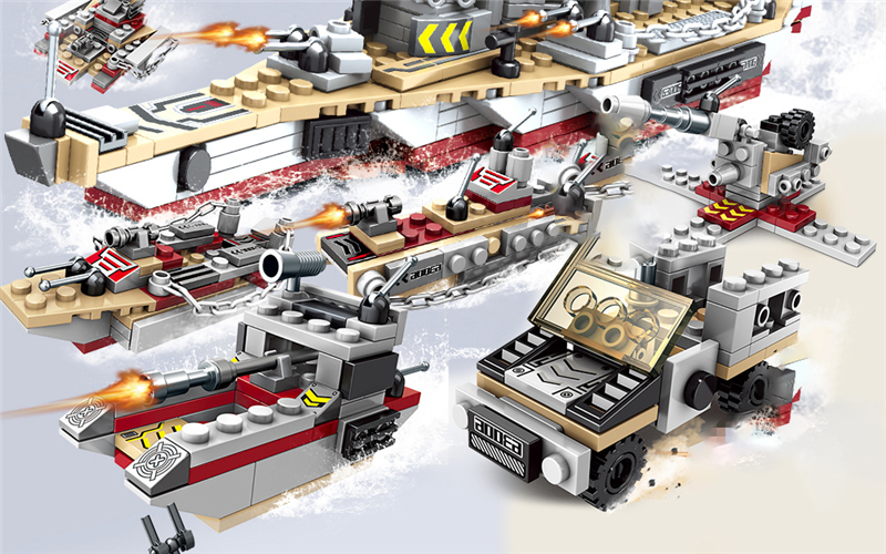 1000+ PCS Military Warship Navy Aircraft Army Figures Building Blocks LegoINGlys Army Warship Construction Bricks Children Toys (17)