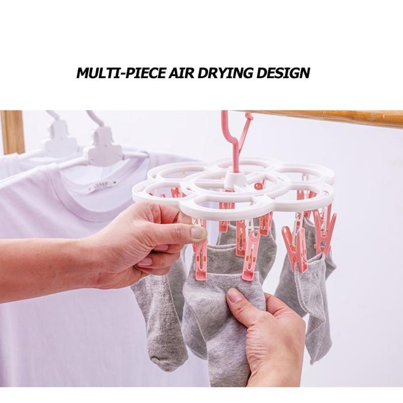 Foldable Socks Cloth Hanger 16 Clips Portable  Multifunction Underwear Drying Racks Wardrobe Drying Socks/Towels/Baby Cloths