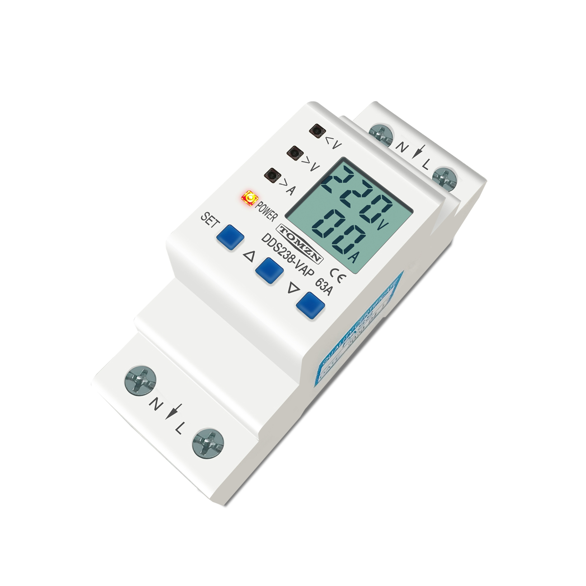 Image 3 - 63A 80A 110V 230V Din rail adjustable over under voltage protective device protector current limit protection Voltmeter KwhCircuit Breakers   -