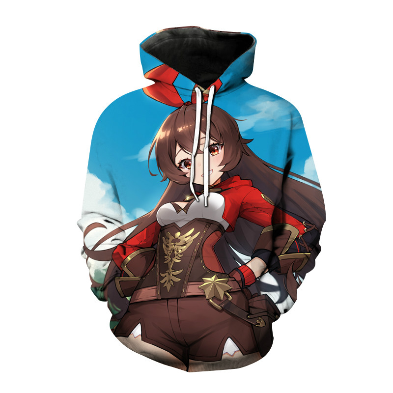 2021 hot sale new 3D printing fashion youth beautiful girl anime sweatshirt men and women pullover