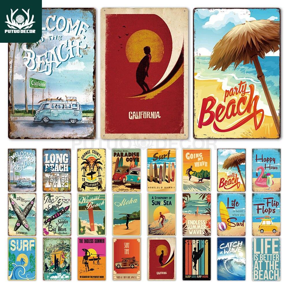 Beach Tin Sign Plaque Metal Summer Sign Metal Plate Wall Decor for Beach Bar Beach House Surf Club Decorative Iron Painting(China)