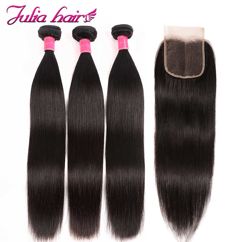 Ali Julia Hair Brazilian Straight Human Hair bundles With Closure Swiss Lace 3 Bundles With Closure USA Domestic Return Remy