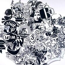 60 шт. смешанные черно-белые наклейки домашний Декор на ноутбук наклейка холодильник, скейтборд каракули наклейки игрушки
