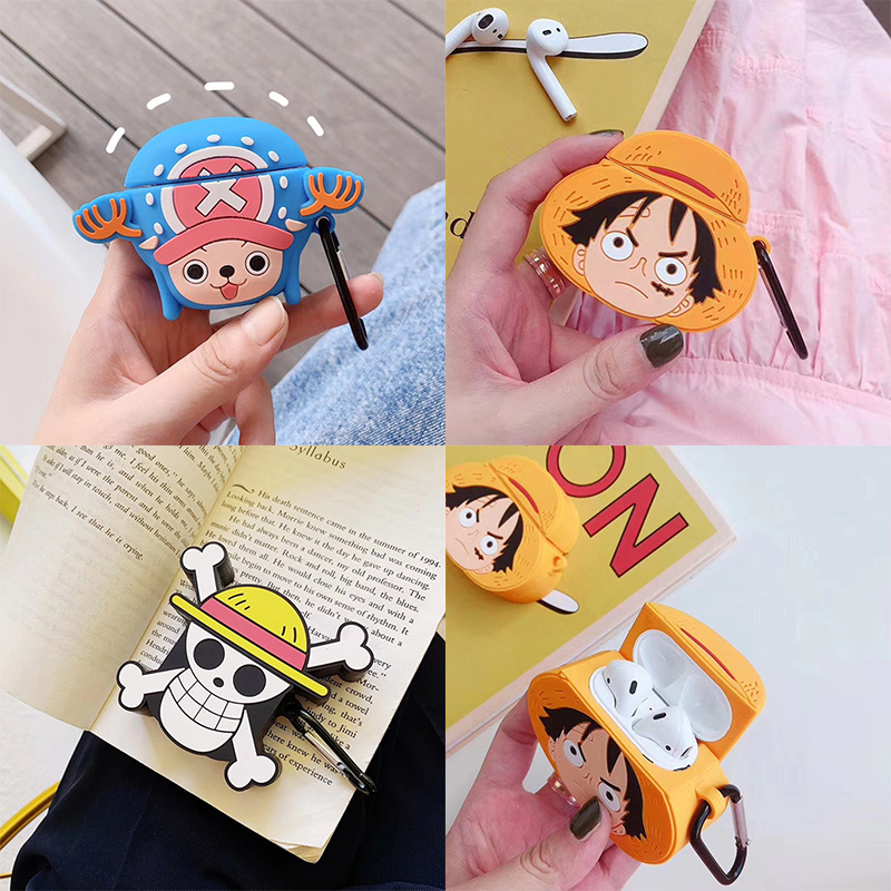 For AirPods Apple Case 3D Cartoon One Piece Headphone Cases For Airpods 1 2 Silicone Case Accessories Protector Cover Keychain-in Earphone Accessories from Consumer Electronics