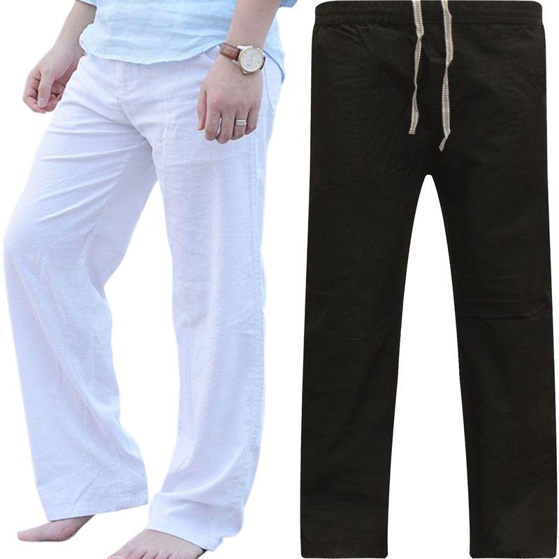 2019 Mens Nature Cotton Linen Trousers Summer Pants Casual Male Solid Elastic Waist Straight Loose Pants Plus Size M-XXXL