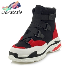 DORATASIA New Dropship Plus Size 29-46 INS mixed-color Booties Women 2019 Winter Warm Add Fur Sneakers Wedges Shoes Woman