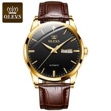 OLEVS luksusowy skórzany zegarek mechaniczny klasyczne męskie zegarki biznes mężczyźni automatyczny zegarek wodoodporny zegar człowiek Relogio Masculino tanie tanio 3Bar CN (pochodzenie) Sprzączka BIZNESOWY Samoczynny naciąg 24cm STAINLESS STEEL Odporna na wstrząsy Odblaskowe Automatyczna data