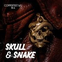 COPPERTIST.WU Skull Snake Keychain Dope Necklace Pendant Handmade Brass Car Key Chain Fashion Men Gift Designer Skeleton Ghost