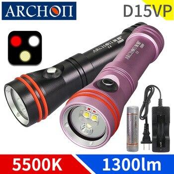 D15vp branco quente 5000 k hd vídeo luzes de mergulho 6500 k mergulho lanterna subaquática 100m mergulho luz fotoaphy vermelho iluminação preenchimento