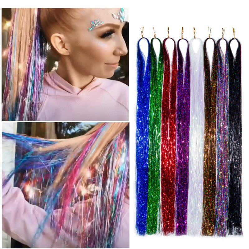 120 Strands/bag Sparkle Shiny Tinsel Rainbow Silk Hair Extensions Dazzles Women Hippie For Braiding Headdress Colorful Long 39